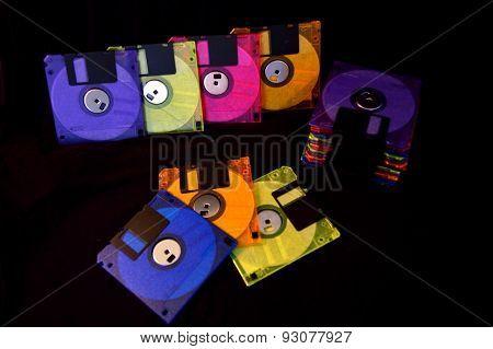 Colorful Floppy Disks On Black