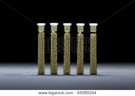 Five Small Glass Tubes With Homeopathy Globules, Black Background