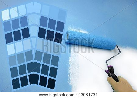 complimentary blue color chart and hand painting wall