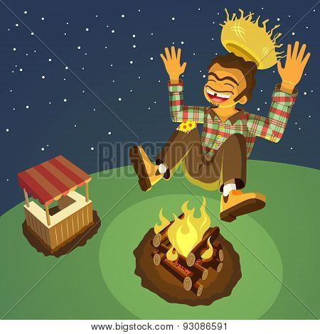 Happy hick jumping high over a bonfire