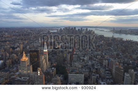 Downtown New York Skyline At Sunset