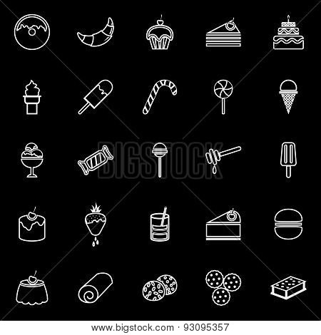 Dessert Line Icons On White Background