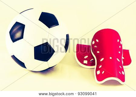 Soccer Ball And Shin Guard  Vintage Style