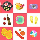 Set of picnic icons and barbeque outdoor family weekend objects in flat style. Food, grill, camera, clothes, keds, wine on square checkerboard background poster