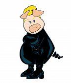 Illustration of a funny blond burglar Pig. poster