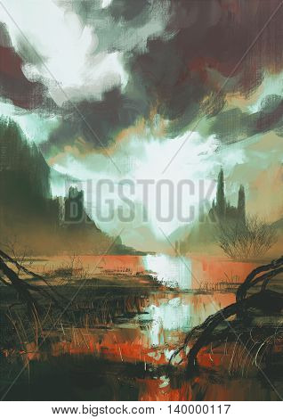 fantasy landscape of mystic red swamp at sunset,illustration painting
