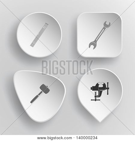 4 images: spirit level, spanner, mallet, clamp. Industrial tools set. White concave buttons on gray background. Vector icons.