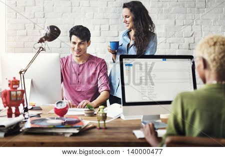 Business Office Connection Contemporary Working Concept