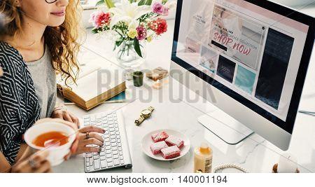 Friends Online Shopping Computer Screen Concept