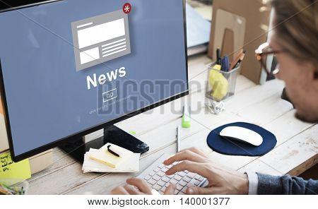 News Announcement Broadcast Article Concept