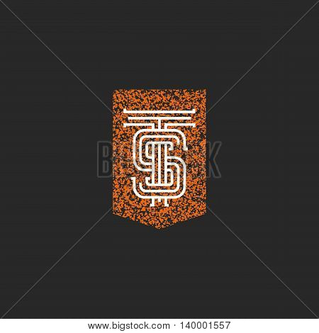 Crest Ts Letters Monogram, Initials Combination T S Logo Simple, Elegant Hipster Boutique Emblem