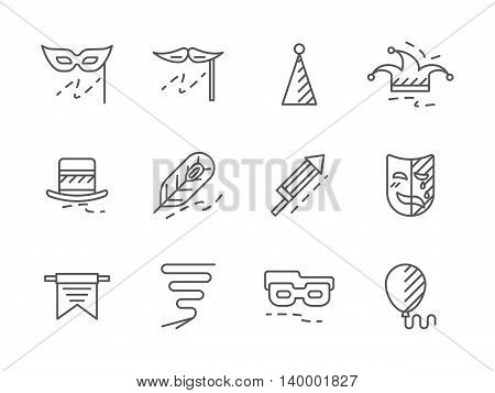 Carnival masks and costumes, festive decoration with confetti and balloons, flag garlands. Celebrations and party. Set of simple black line style vector icons on white.