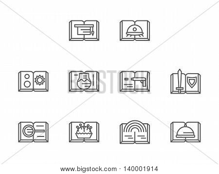 Different genres of book, stories. Symbols for library, book stored, tale collections and other. Set of simple black line style vector icons on white.