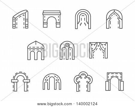 Different types and shapes of arch. Arched construction for entrance facade design, gateway, monuments. Set of simple black line style vector icons on white.