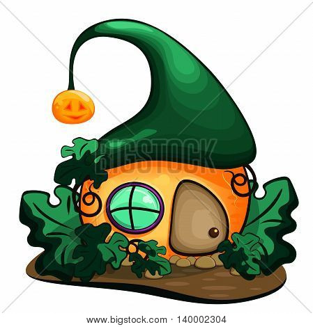 magic pumpkin house with a roof and Windows, vector illustration, Vector design for app user interface