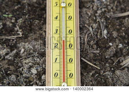 Outdoor Thermometer on the ground in the garden