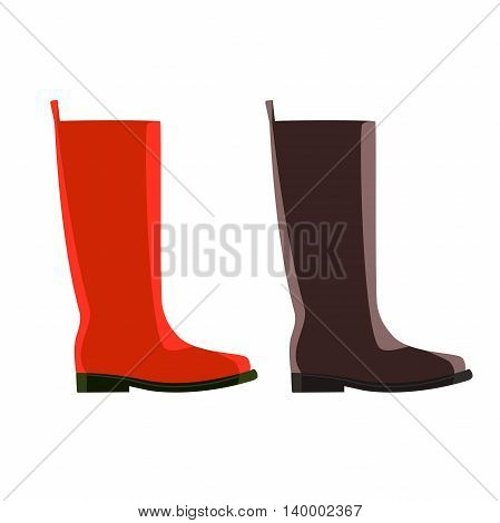 cartoon set of red and brown rubber boots, vector design for custom interface, vector icon, vector illustration