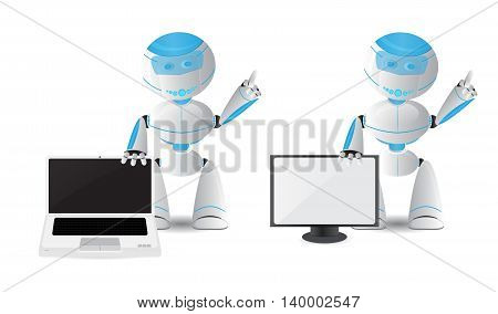 Funny robot illustration holding laptop and TV isolated on white
