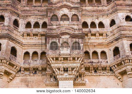 Mehrangarh fort close-up in Jodhpur, Rajasthan, India