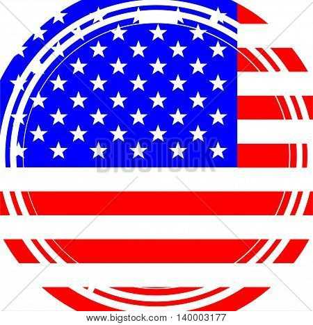 A circular maize style image over a Stars and Stripes background