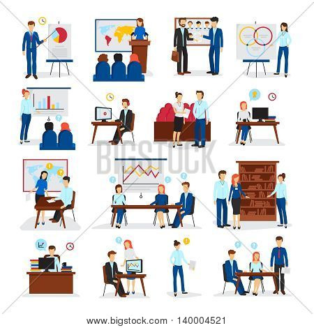 Business training and consulting programs for general management strategy and innovations flat icons collection isolated vector illustration