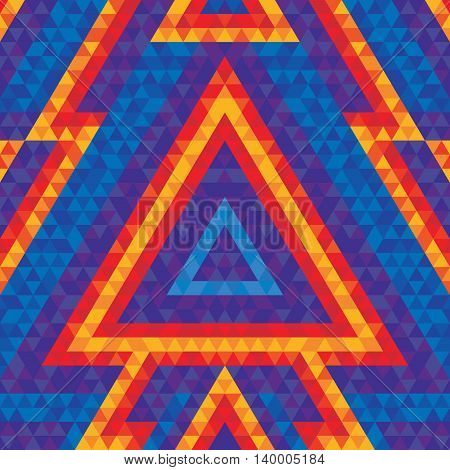 Abstract geometric background - vector seamless pattern for dance party poster and flyer. Pyramide triangle figures. Design element.