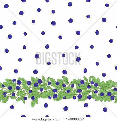 Seamless natural pattern of blueberries with a border of twigs with berries on a white background. Elements of the pattern drawn by hand a dark outline and painted bright colors. Vector illustration