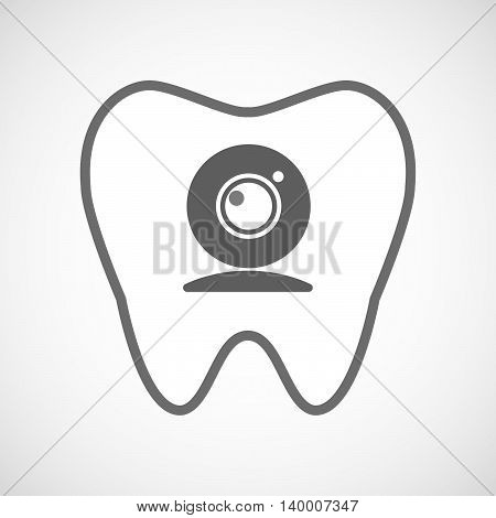 Isolated Line Art Tooth Icon With A Web Cam