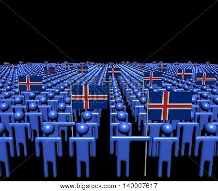 Crowd of abstract people with many Iceland flags 3d illustration
