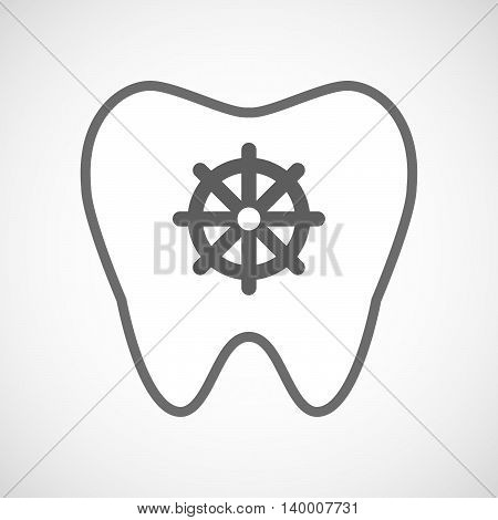 Isolated Line Art Tooth Icon With A Dharma Chakra Sign