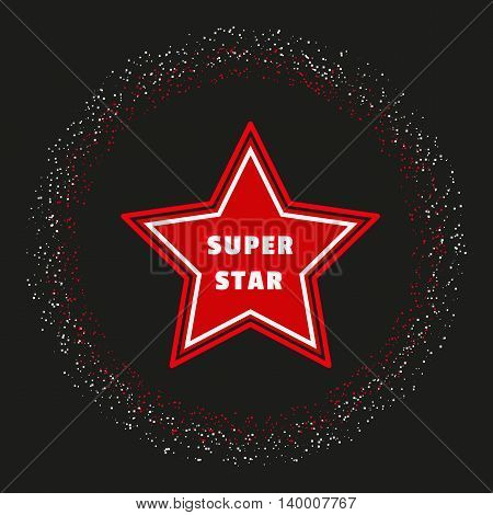 Super star. Award banner background. Shimmering circle. Success Superstar Victory Winning Vector Concept. Reward ceremony decoration. Movie music awarding layout. Vector illustration