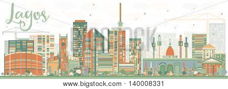 Abstract Lagos Skyline with Color Buildings. Vector Illustration. Business Travel and Tourism Concept with Modern Buildings. Image for Presentation Banner Placard and Web Site.