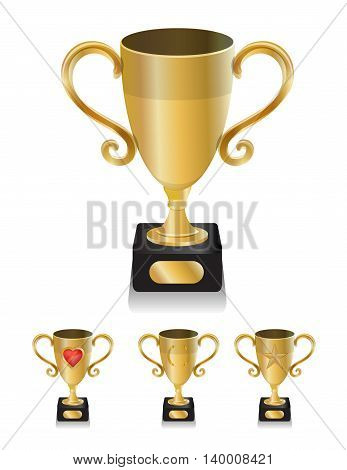 collection set of winner golden trophy isolated