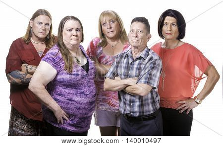 Skeptical Or Angry Group Of Transgender People