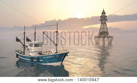 Computer generated 3D illustration with fishing trawler and lighthouse
