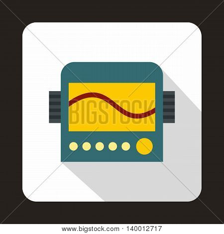 Display with cardiogram, ecg machine icon in flat style on a white background