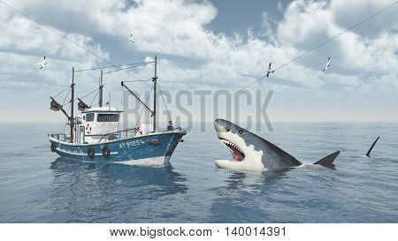 Computer generated 3D illustration with fishing trawler and great white shark