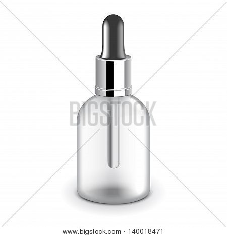 Transparent cosmetic plastic bottle with dropper isolated on white photo-realistic vector