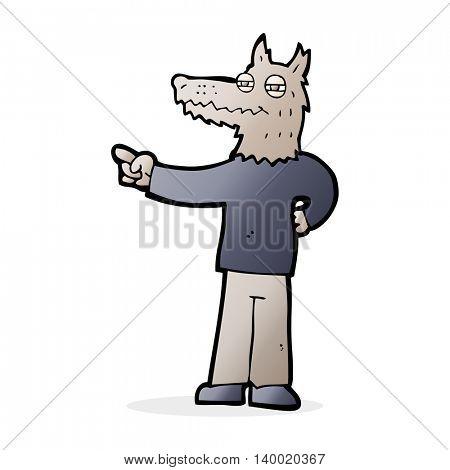 cartoon pointing wolf man
