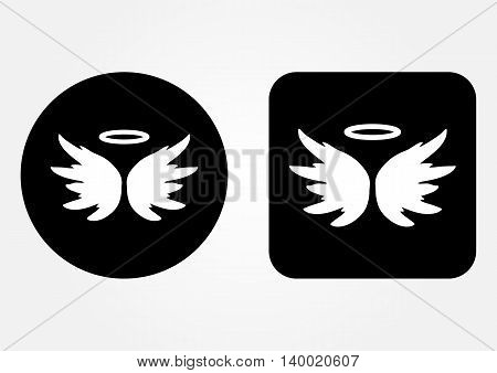 Icon schematic image of an angel. Nimbus Wings backdrop. Set of round and square web button. White on a black background.