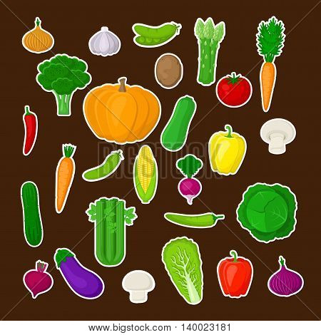 Big set of colorful vegetables with white stroke on a dark background. Natural fresh organic vegetables. Vector illustration of vegetables.