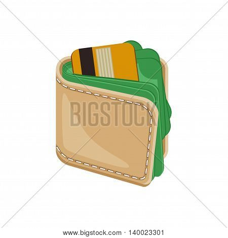 Leather stitched wallet with money. Wallet full of money. Wallet with plastic credit bank cards and money. Vector icon illustration isolated on white background.