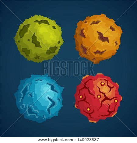 Cartoon Space Planets Or Asteroids Vector Set In Flat Style