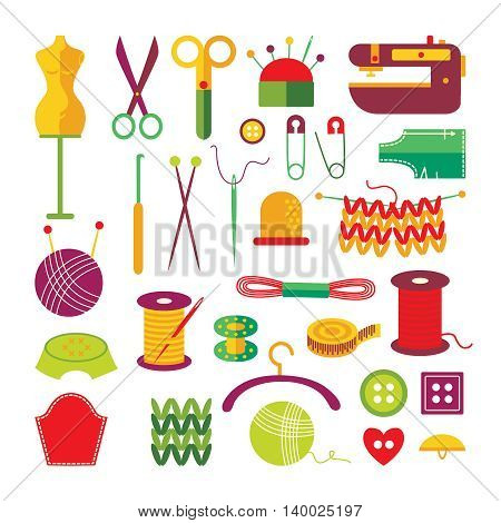 Handmade colorful icons set with mannequin scissors knitting buttons spools of threads sewing machine isolated vector illustation