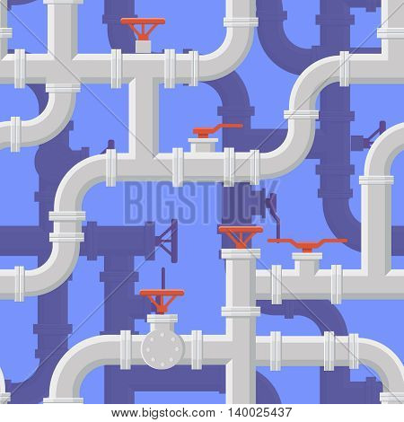 Seamless background of water pipeline. Piping System on blue background vector illustration