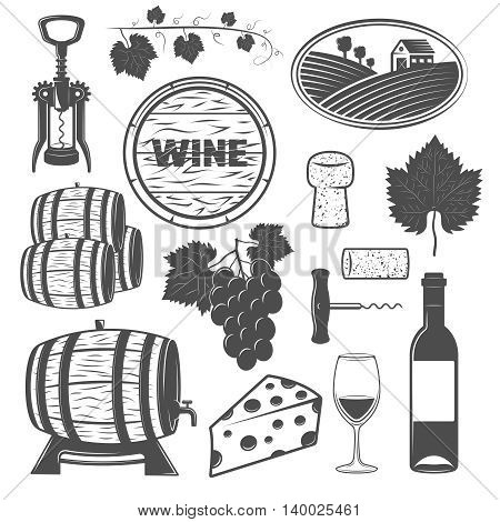 Wine monochrome objects set with vine wooden barrels bunch of grapes cheese signboard corkscrews isolated vector illustration