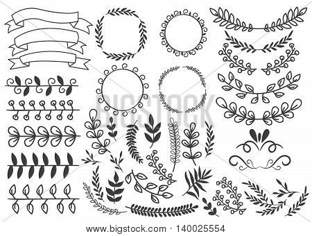 Hand drawn decorative elements set with floral ornaments wreaths leaf and swirls ribbons vignettes isolated vector illustration