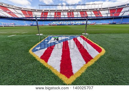 MADRID,SPAIN-MARCH 2016: Ground view on Vicente Calderon stadium -  the official playground of FC Atletico
