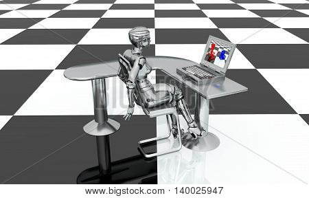 Computer generated 3D illustration with female robot, desk and laptop on a checkerboard pattern