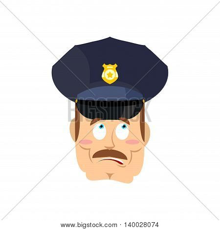 Surprised Policeman. Perplexed Cop. Astonished Police Officer